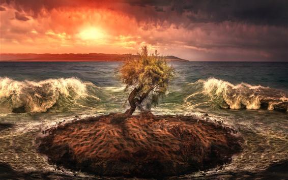 Fond d'écran Arbre solitaire, petite île, mer, vagues, coucher de soleil