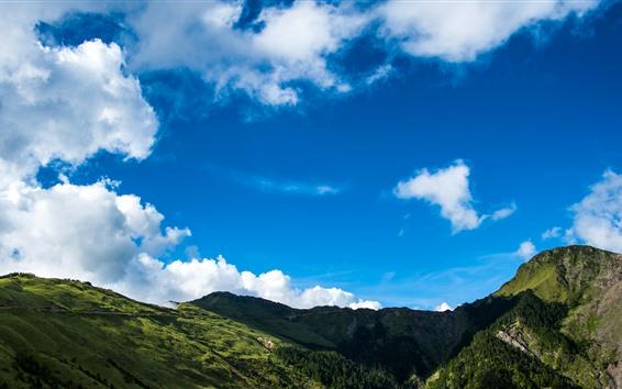 Papéis de Parede Montanhas, céu azul, nuvens brancas, paisagem da natureza