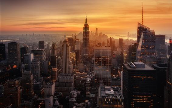 Wallpaper New York, evening, sunset, skyscrapers, city, USA