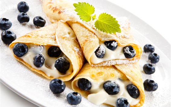 Wallpaper Pancake rolls, cream, blueberries