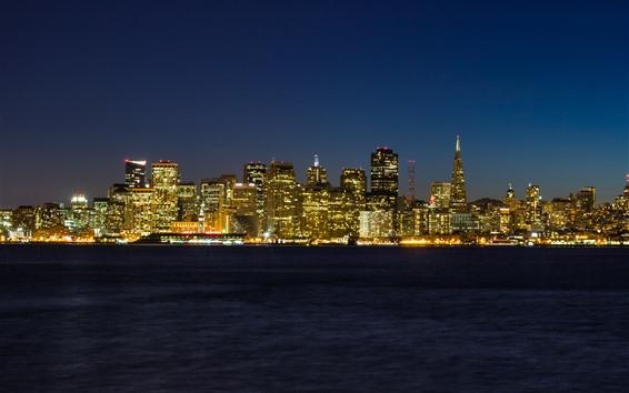 Обои Сан-Франциско, город, небоскребы, город, огни, ночь, море