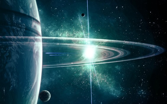 Wallpaper Space, planet, satellite, ring, stars, shine
