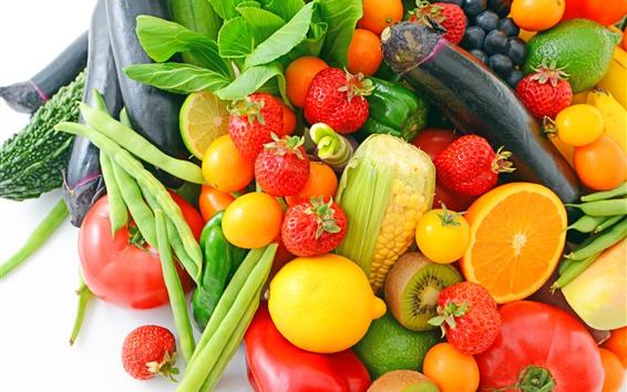 Papéis de Parede Morango, limão, tomate, legumes