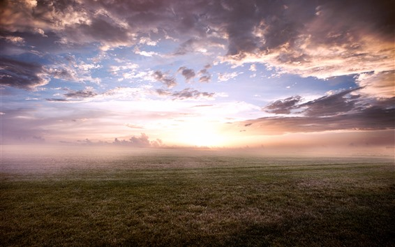 Wallpaper Sunrise, fog, morning, grass, clouds