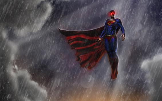 Обои Супермен, дождь, небо, художественная картинка