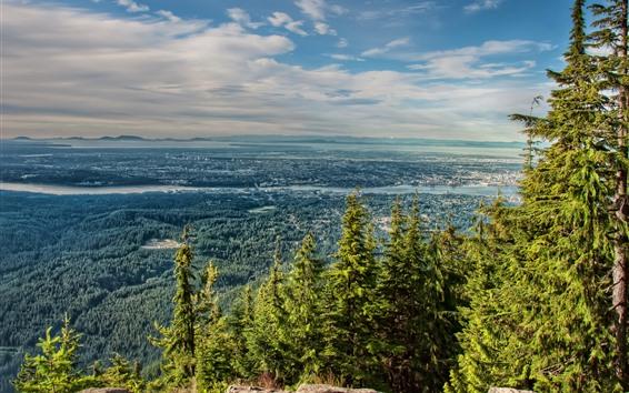 Fond d'écran Arbres, Montagnes, North Vancouver, River, Canada