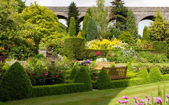 Wallpaper UK, garden, bushes, trees, flowers, meadow, bridge, bench