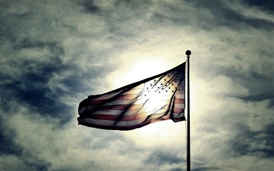 壁纸 美国国旗,阳光,天空,云
