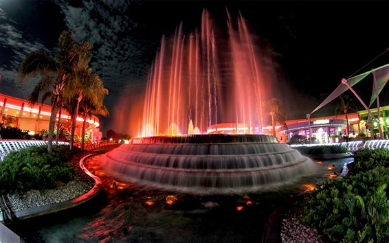 Wallpaper USA, fountain, water, night, city