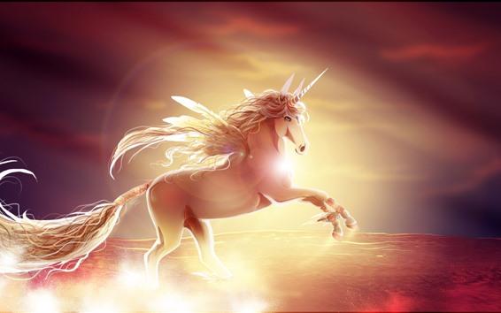 Обои Единорог, Крылья, Рог, Изображение искусства
