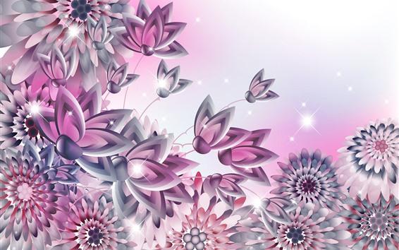 Wallpaper Vector flowers, shine, creative design
