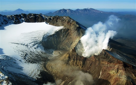 Wallpaper Volcano Kamchatka, Russia, snow, smoke, mountains