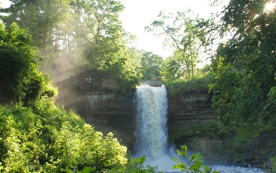 Обои Водопад, Деревья, Лето, Солнце