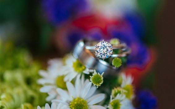 壁紙 白い花、リング、ダイヤモンド、ハジー