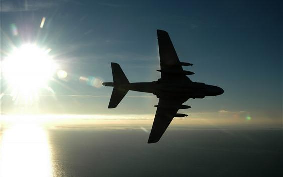 Wallpaper Airplane, sunshine, sky, sea, silhouette