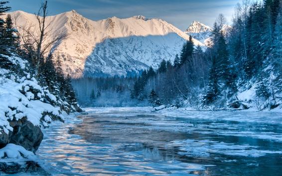 Fond d'écran Alaska, hiver, montagnes, rivière, forêt, neige