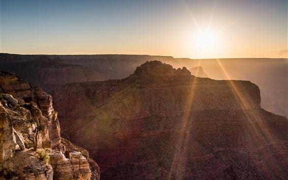 Wallpaper Arizona, New Mexico, Grand Canyon, sunrise, glare