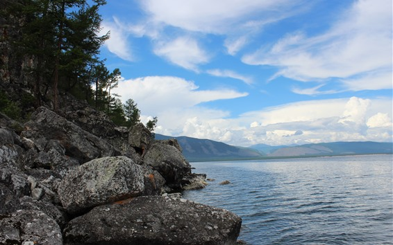 Fondos de pantalla Lago Baikal, Agua, Piedras, Montañas, Cielo, Nubes