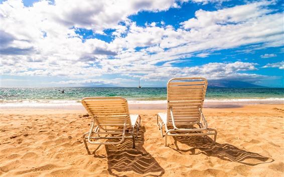 Wallpaper Beach, chairs, sea, clouds, sky