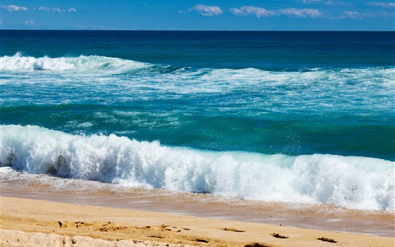 Wallpaper Beautiful sea, beach, coast, water, foam