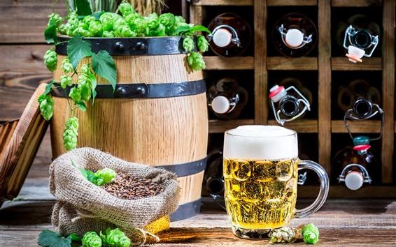 배경 화면 맥주, 거품, 배럴, 녹색 홉
