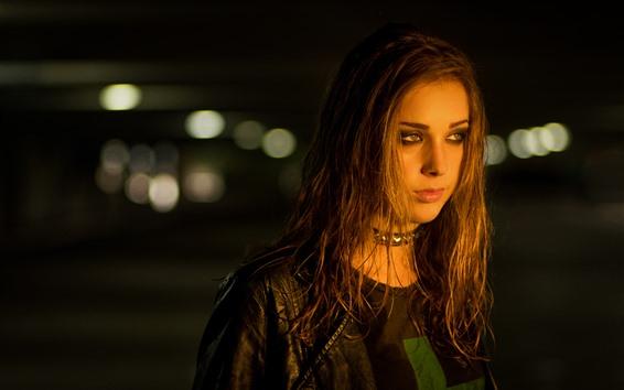 Wallpaper Brown hair girl, face, jacket, night