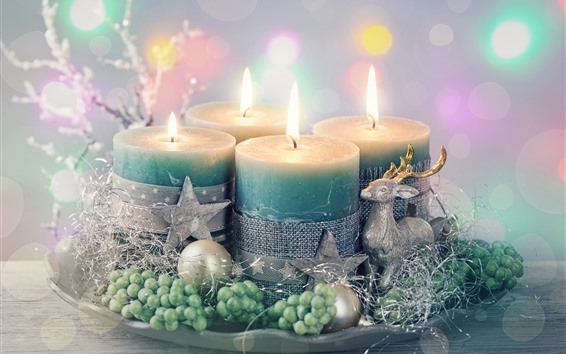 Wallpaper Candles, flame, stars, deers, decoration, Christmas