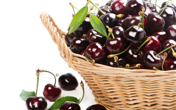 Hintergrundbilder Kirschen, Obst, Korb, weißer Hintergrund