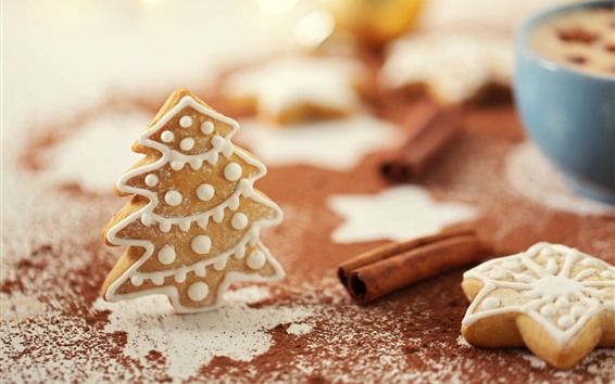Wallpaper Christmas, gingerbread, cookies, tree, powder