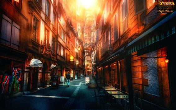 Обои Город, улица, здания, блики, стиль HDR
