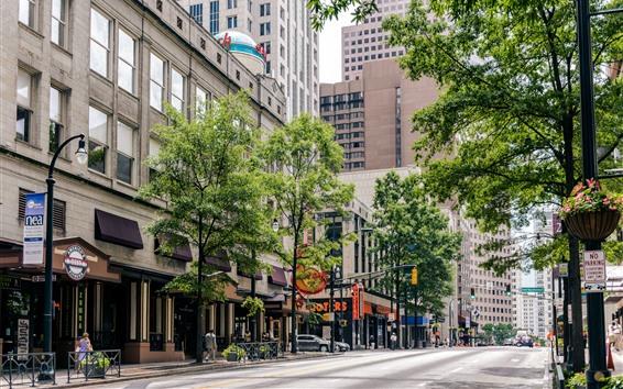 Fond d'écran City Street, Café, Arbres, Géorgie, Atlanta, États-Unis