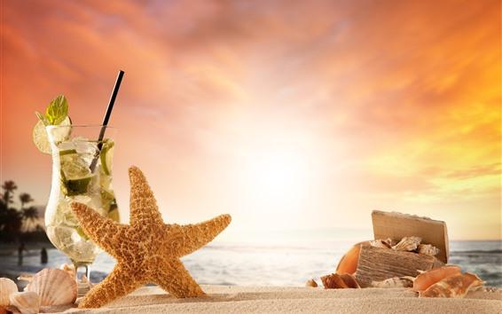Papéis de Parede Coquetel, estrela do mar, caixa, praia, concha, mar, pôr do sol