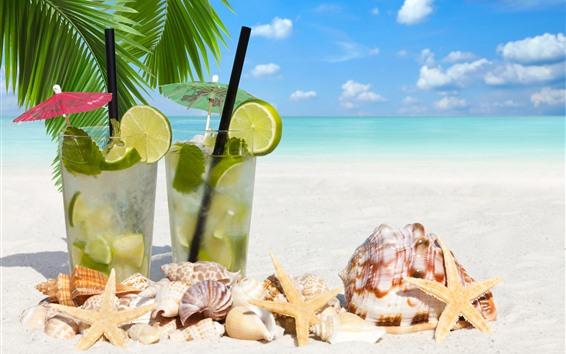 Wallpaper Cocktail, starfish, seashell, drinks, beach, sea, tropical