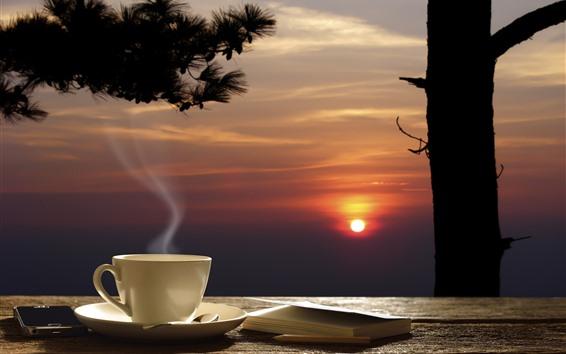 Fondos de pantalla Café, taza, libro, árbol, puesta de sol