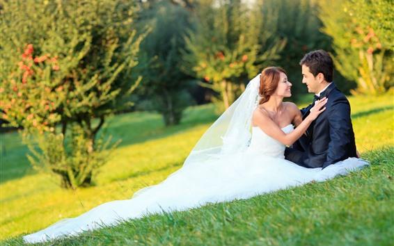 Wallpaper Couple, bride, bridegroom, meadow