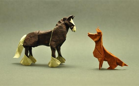 Papéis de Parede Cão e cavalo, origami