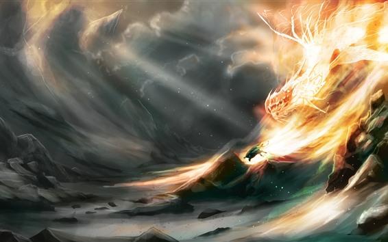 Обои Дракон, пламя, скалы, художественная картинка