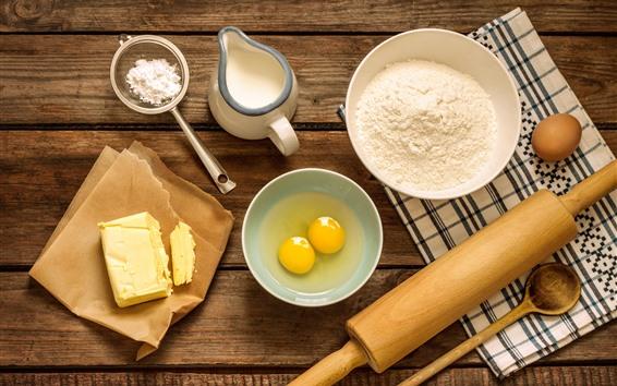 Wallpaper Eggs, flour, milk, oil, rolling pin, food
