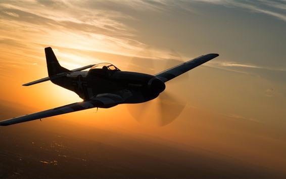 Wallpaper Fighter, flight, sunset, sky, silhouette