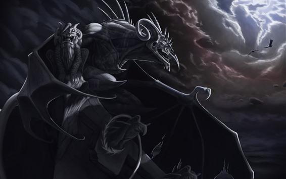 Papéis de Parede Gargoyle, Asas, Nuvens, Aves, Escuridão, Imagem de Arte