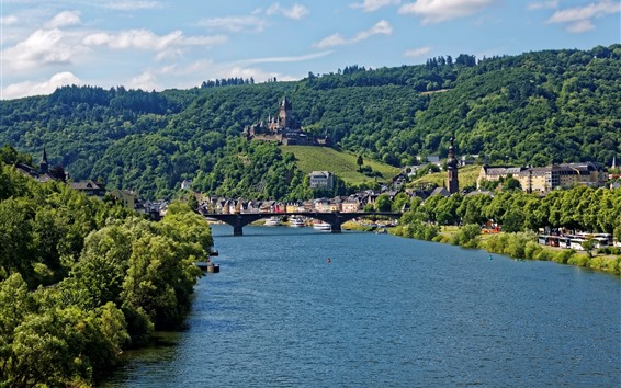 Wallpaper Germany, Cochem, river, city, bridge, castle, trees