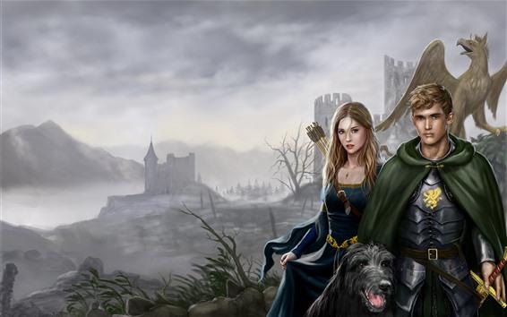 Обои Девушка и мальчик, Собака, Дракон, Замок, Изображение искусства