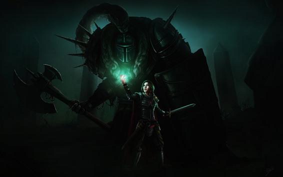Wallpaper Girl, warrior, sword, armor, art picture