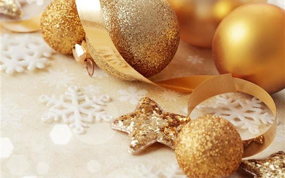 Обои Золотые елочные шары, украшение, ленты, снежинка