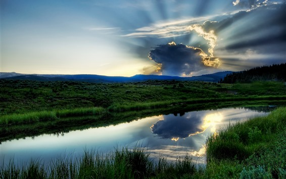Wallpaper Grass, lake, green, sky, clouds, sun rays, dusk
