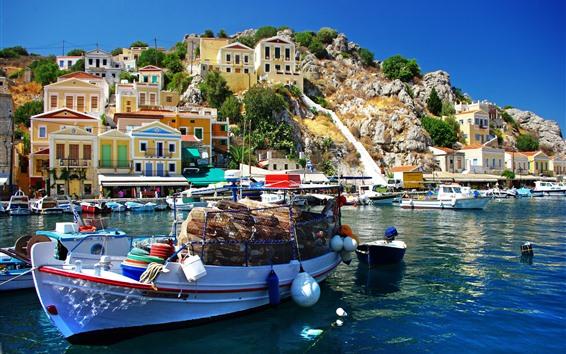 壁紙 ギリシャ、海、ボート、住宅、町、桟橋