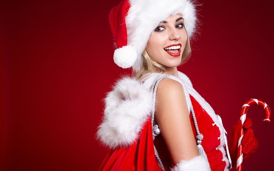 Wallpaper Happy Christmas girl, hat, red background