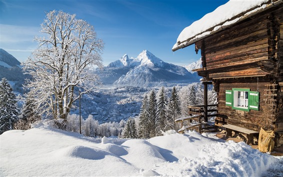 Wallpaper House, snow, trees, mountains, winter
