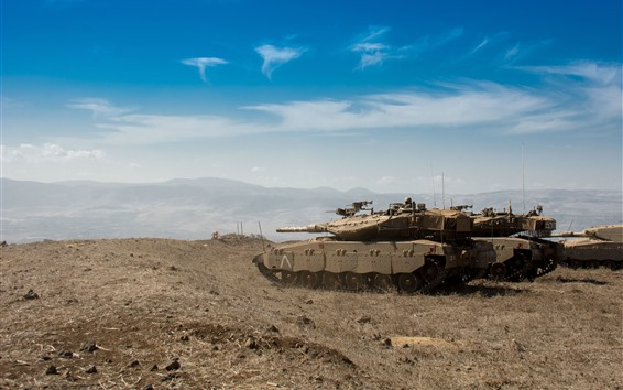 Fond d'écran Israël, combat, réservoir, ciel bleu