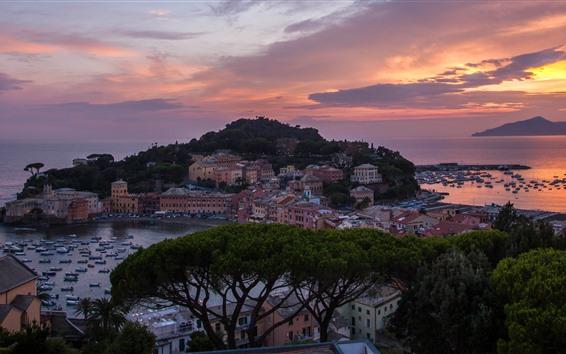 Обои Италия, побережье, море, мыс, дома, лодки, деревья, закат